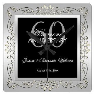 Stilfull dekorativ bröllopsdag för silver 60th fyrkantig klocka