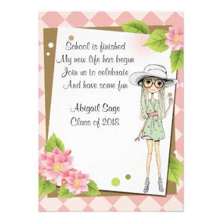 Stilfull flickastudentkort för personlig tillkännagivanden