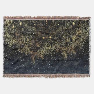 Stilfull guld- blom- mandala och konfettiar filt