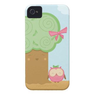 Stilfull gullig kawaiiträd- och ugglablackberry bo iPhone 4 skydd
