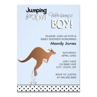 Stilfull kängurubanhoppning för glädjepojkebaby 12,7 x 17,8 cm inbjudningskort