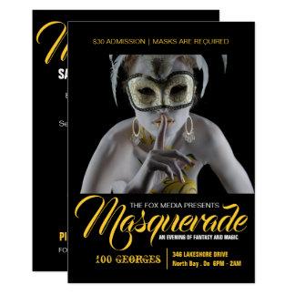 Stilfull maskeradpartyinbjudan 12,7 x 17,8 cm inbjudningskort