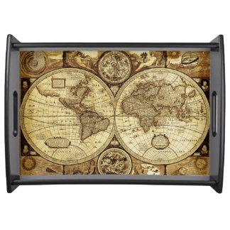 Stilfull och elegant karta för gammal värld för serveringsbricka