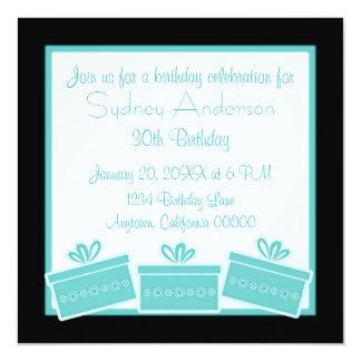Stilfull presenterfödelsedagsfestinbjudan, Aqua Fyrkantigt 13,3 Cm Inbjudningskort
