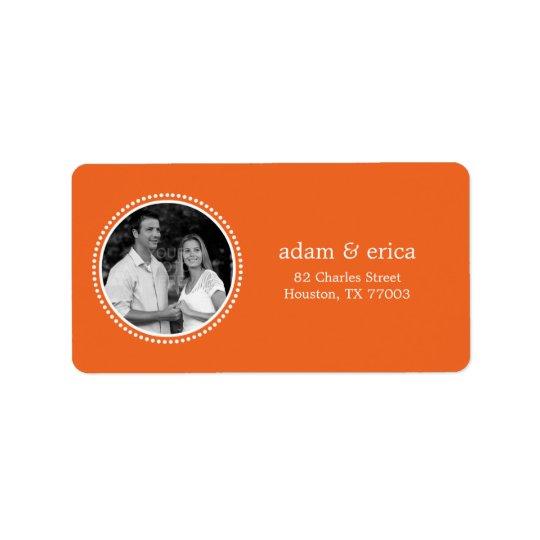 Stilfull ramfotoadressetiketter (orangen) adressetikett
