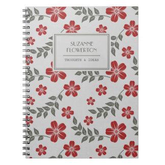 Stilfull röd gråttblomma- och lövpersonlig anteckningsbok