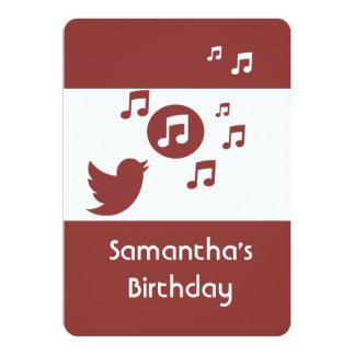 Stilfull Songbirdmusik noterar födelsedagsfesten 12,7 X 17,8 Cm Inbjudningskort