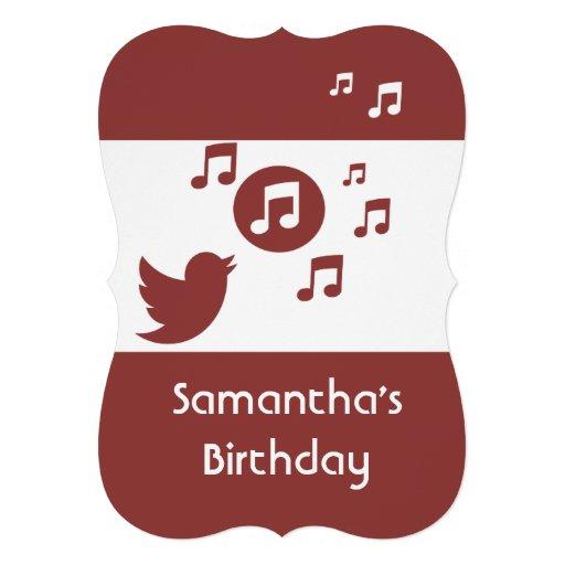 Stilfull Songbirdmusik noterar födelsedagsfesten Anpassade Inbjudan