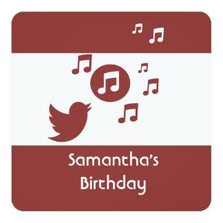 Stilfull Songbirdmusik noterar födelsedagsfesten Fyrkantigt 13,3 Cm Inbjudningskort
