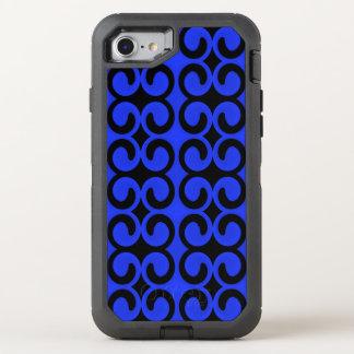 Stilfulla blått och svart mönster OtterBox defender iPhone 7 skal