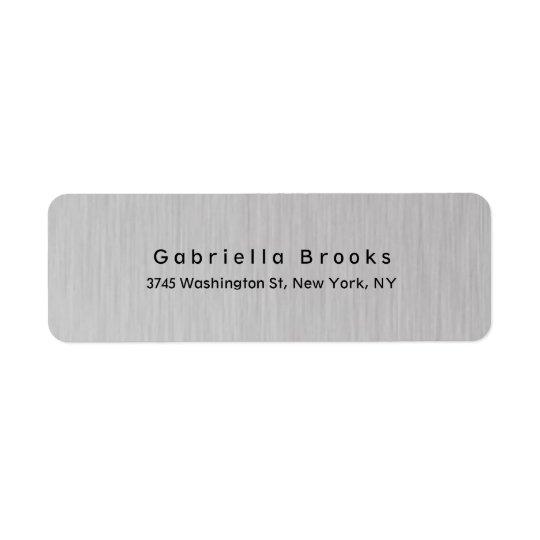 Stilfulla moderna vanliga eleganta unika silvergrå returadress etikett
