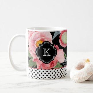 Stilfulla pioner och polka dots med monogramen kaffemugg