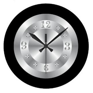 Stilfulla silvergrått och svart stor rund klocka
