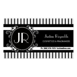 Stilfulla svartvita moderna randar set av standard visitkort