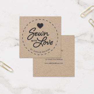 Stilfullt lantligt som sys med kärlek Kraft Fyrkantigt Visitkort