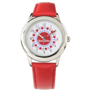 Stilfullt rött & blått pricker det beställnings- armbandsur