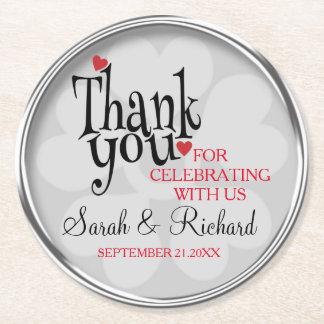 Stilfullt tack för silvergråttbröllop underlägg papper rund