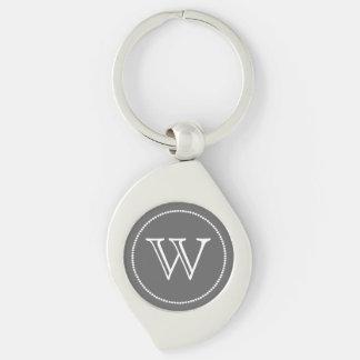 Stilig beställnings- Monogramnyckelring Swirl Silverfärgad Nyckelring