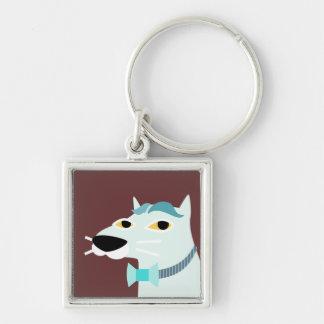 Stilig katt med Bowtie Fyrkantig Silverfärgad Nyckelring