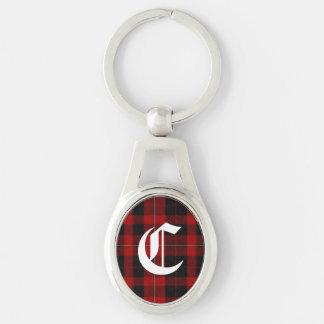 Stilig nyckelring för Monogram för klanCunningham  Ovalt Silverfärgad Nyckelring