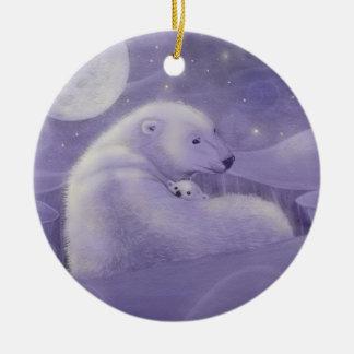 Stilla den polara björn- och ungeprydnaden för julgransprydnad keramik
