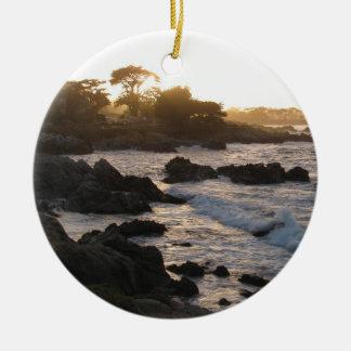 Stillahavs- dungesolnedgång julgransprydnad keramik