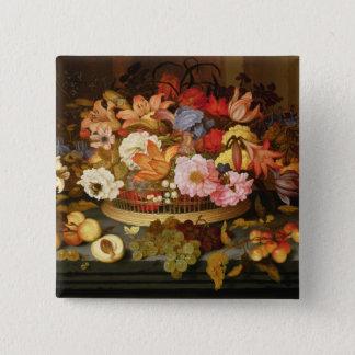 Stilleben av frukt och en basket av blommor standard kanpp fyrkantig 5.1 cm