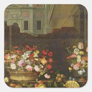 Stilleben med blommor, frukter och snäckor fyrkantigt klistermärke