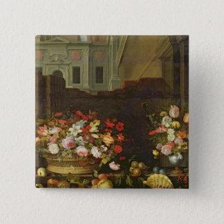 Stilleben med blommor, frukter och snäckor standard kanpp fyrkantig 5.1 cm
