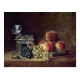 Stilleben med en basket av persikor vykort