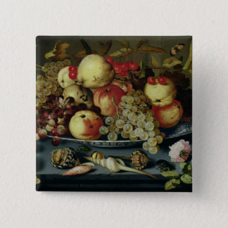 Stilleben med frukt, blommor och skaldjur standard kanpp fyrkantig 5.1 cm
