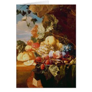 Stilleben med frukt och blommor hälsningskort