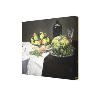 Stilleben med melonen och persikor av Edouard Canvastryck