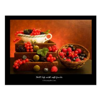 Stilleben med mjuka frukter vykort