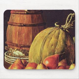 Stilleben med pears, melonen och trumman musmatta