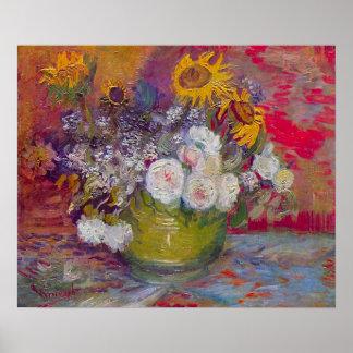 Stilleben med ro och solrosor av Van Gogh Poster