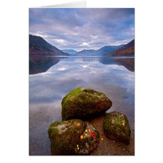 Stillsam morgon Ullswater, sjöområdet Hälsningskort