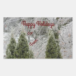 Stillsamma isiggrenar för glad helg rektangulärt klistermärke