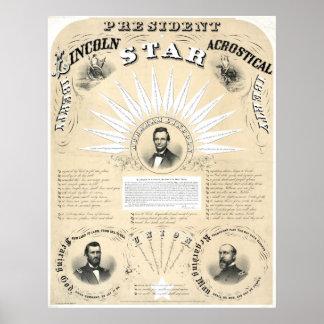 Stjärna 1864 för presidentLincoln Acrostic Affisch
