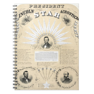 Stjärna 1864 för presidentLincoln Acrostic Antecknings Böcker