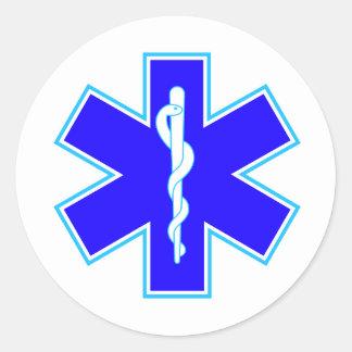 Stjärna av liv (ambulansen) runt klistermärke