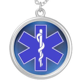 Stjärna av liv/EMT Halsband Med Rund Hängsmycke
