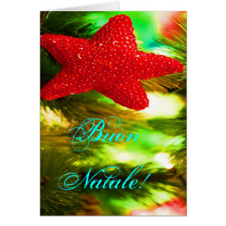Stjärna för julBuon Natale röd jul Hälsningskort