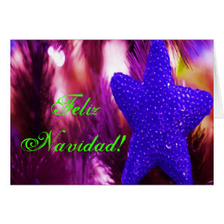 Stjärna för julFeliz Navidad blått Hälsningskort