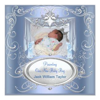 Stjärna för silver för blått för pojke för fyrkantigt 13,3 cm inbjudningskort