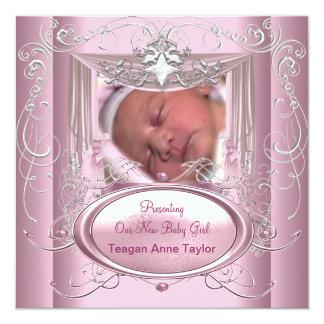 Stjärna för silver för nyfödd bebisflickarosor fyrkantigt 13,3 cm inbjudningskort