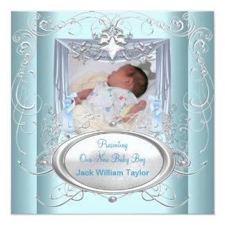 Stjärna för silver för nyfödd bebispojkeblått fyrkantigt 13,3 cm inbjudningskort