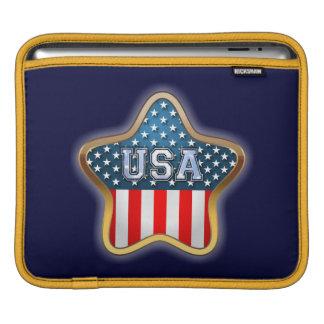 Stjärna formad amerikanska flaggan sleeve för iPads