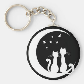 Stjärna som stirrar katter rund nyckelring