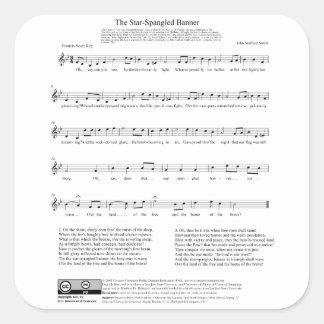 Stjärna-Spangled lakan för banernationalsångenmusi Klistermärke
